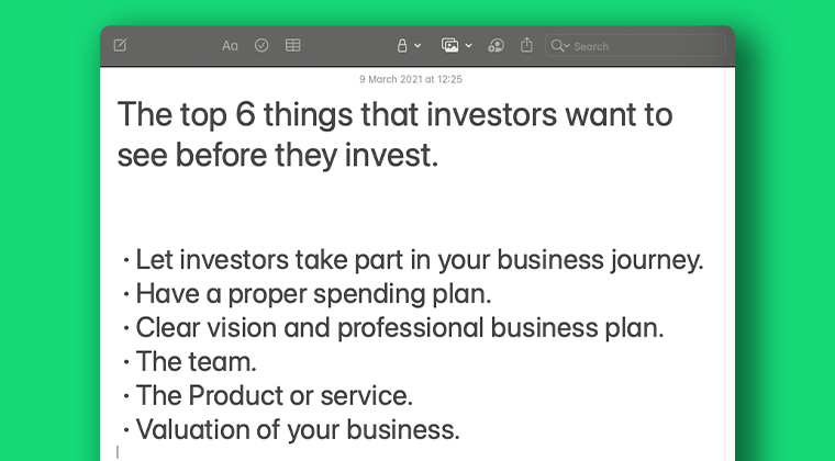 6 things investors want to see summary